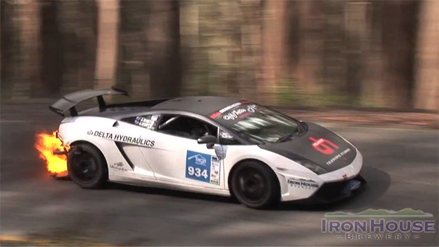 Lamborghini Gallardo on fire Targa High Country