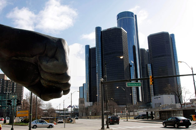 GM's Detroit Renaissance Center headquarters with Joe Louis fist statue