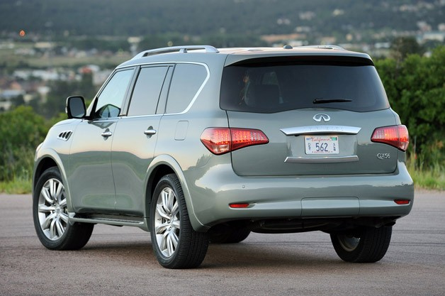 2012 Infiniti QX56 rear 3/4 view