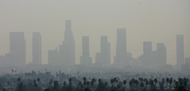 Los Angeles skyline engulfed in smog