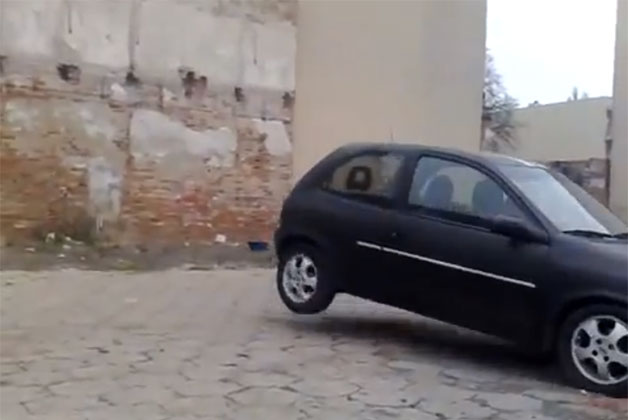 Opel Corsa demolishes wall