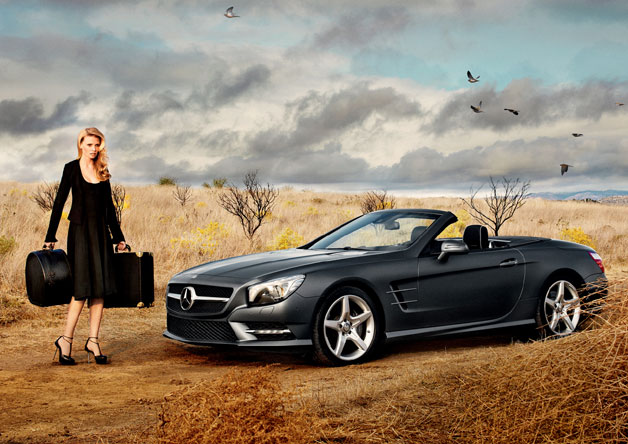 Lara Stone with Mercedes-Benz SL