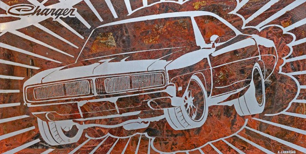 artist uses rust as brush to paint cars. Black Bedroom Furniture Sets. Home Design Ideas