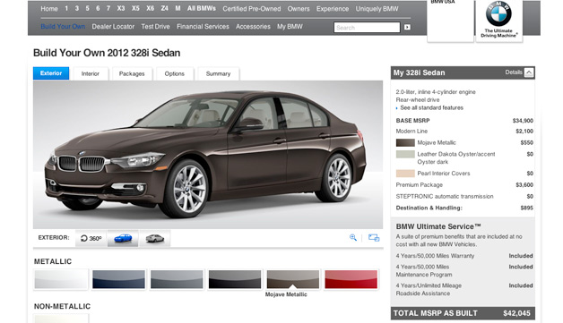 2012 BMW 3 Series configurator screencap