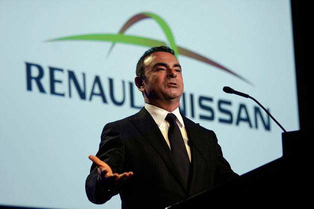 Carlos Ghosn, Renault-Nissan boss standing at podium
