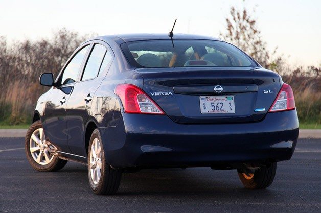 2012 Nissan Versa Sedan rear 3/4 view