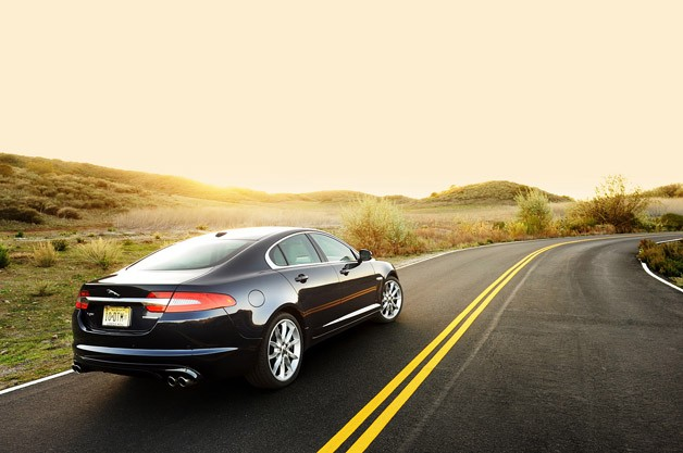 2012 Jaguar XF Supercharged rear 3/4 view