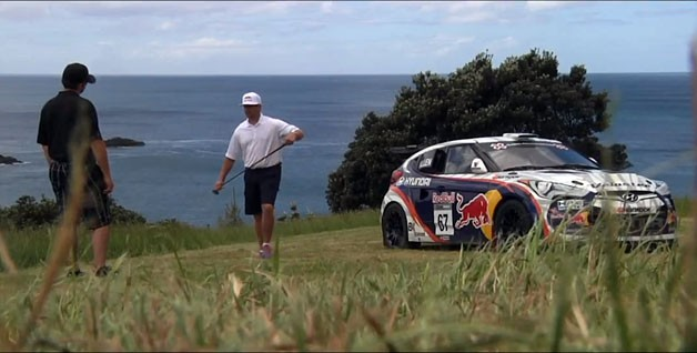 Rhys Millen's Hyundai Veloster at the tee