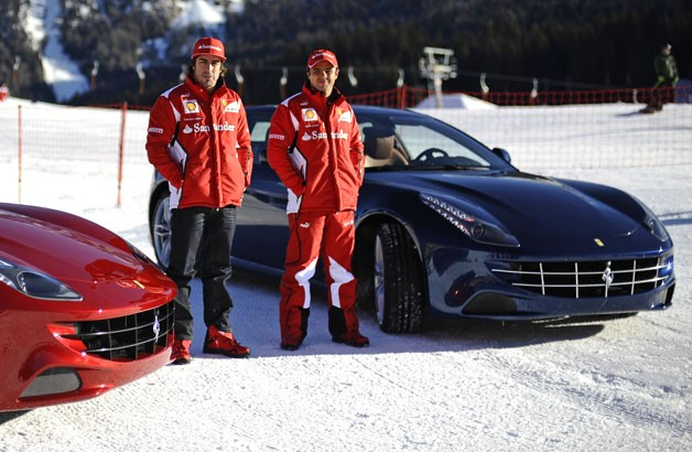 Alonso and Massa with Ferrari FF