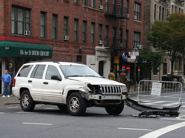 Crashed Jeep WJ