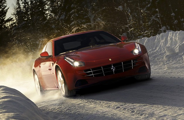 Markku Alen drives Ferrari FF in the snow