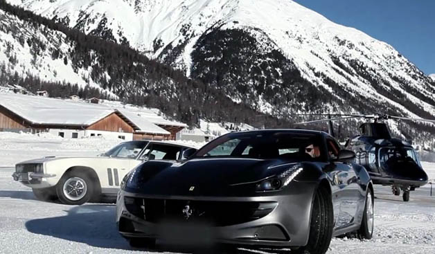 Jensen FF and Ferrari FF in St. Moritz
