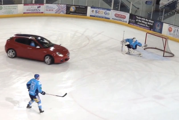 Watch this Alfa Romeo Giulietta fool around ice hockey