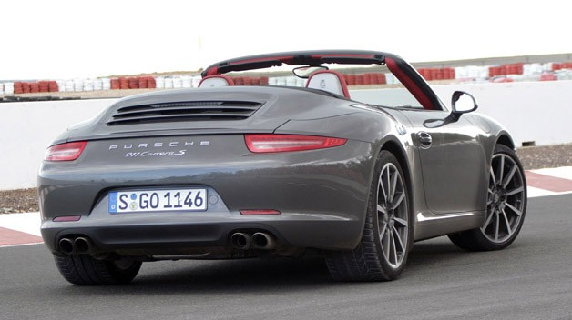 2012 Porsche 911 Cabriolet rear 3/4 view