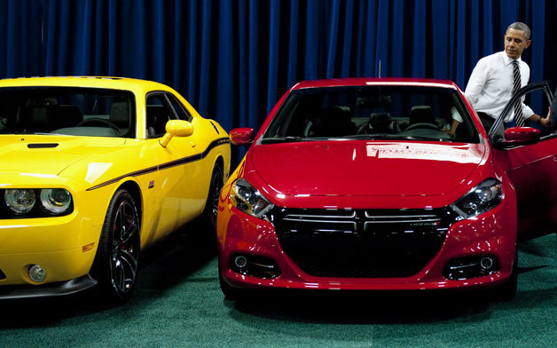 President Barack Obama checks out the new Dodge Dart