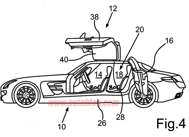 Mercedes-Benz SLS AMG four-door patent drawing
