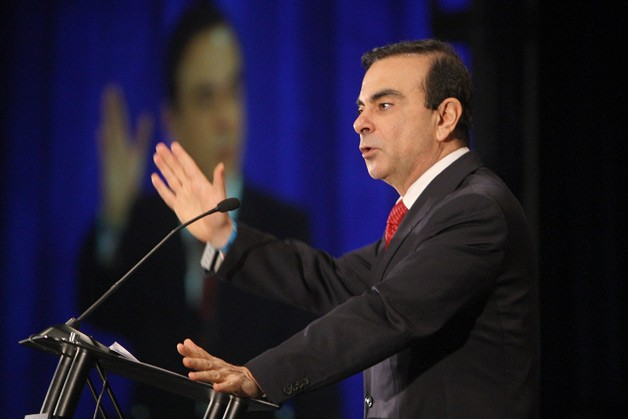Renault-Nissan CEO Carlos Ghosn at podium