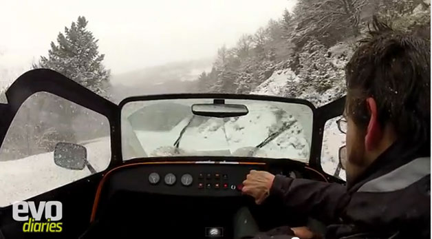 Evo's Henry Catchpole driving a Caterham in the snow