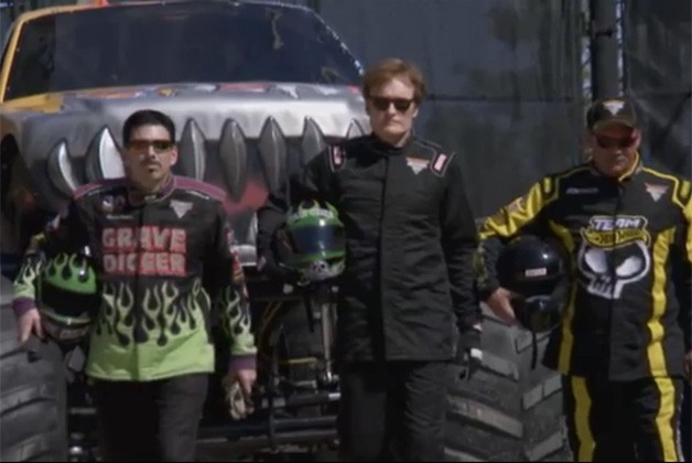 Conan O'Brien drives Grave Digger monster truck