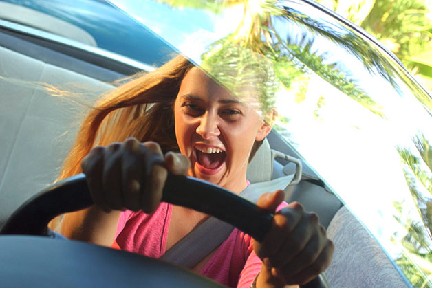 Crazed teen girl behind the wheel