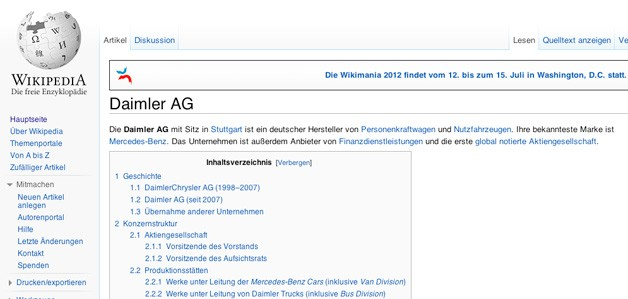 Daimler's German Wikipedia page