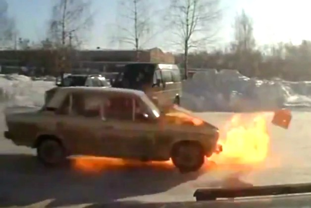 Exploding Lada in Russia