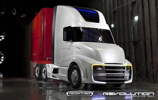Freightliner Revolution Innovation Truck - front three-quarter view