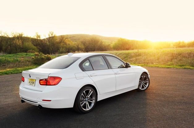 2012 BMW 335i rear 3/4 view
