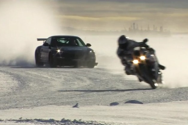 Car versus motorcycle on ice