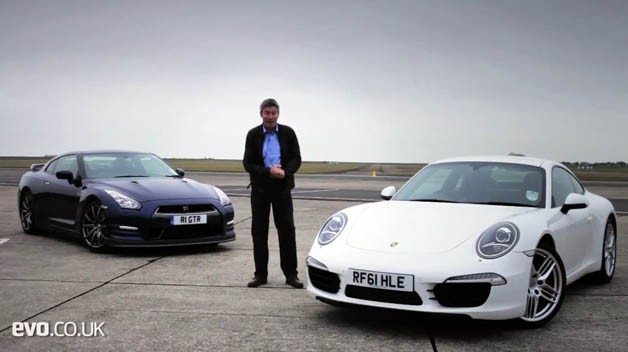 Tiff Needell with Porsche 911 Carrera S and Nissan GT-R