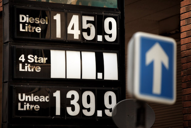 UK petrol price sign