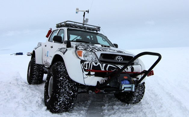 Antarctic Toyota Hilux in snow