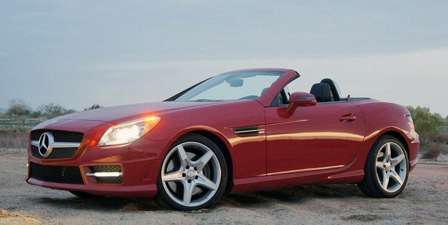 2013 Mercedes-Benz SLK - red - front three-quarter view