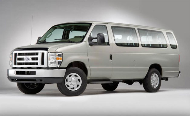 2008 Ford E-250 Commercial van - front three-quarter view, silver