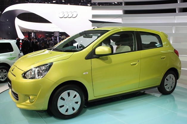 2012 Mitsubishi Mirage live on show floor at 2011 Tokyo Motor Show