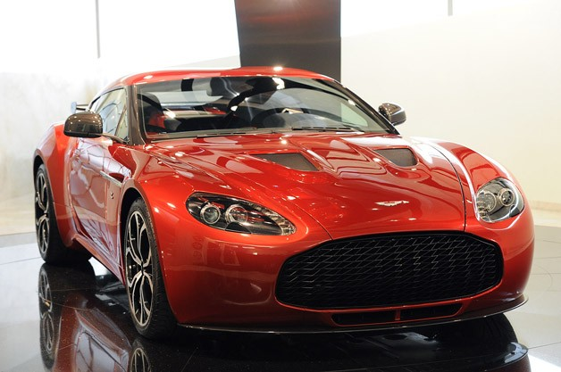 Aston Martin V12 Zagato in red - front three-quarter view