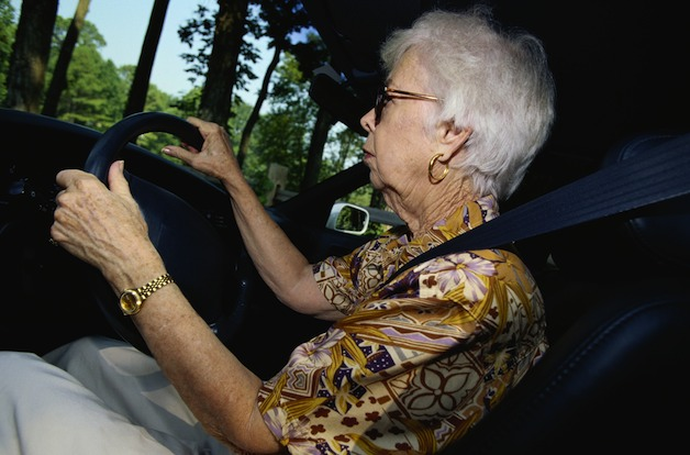 elderly woman driving