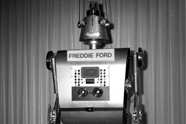 Freddie Ford robot from the 1960s - black and white image