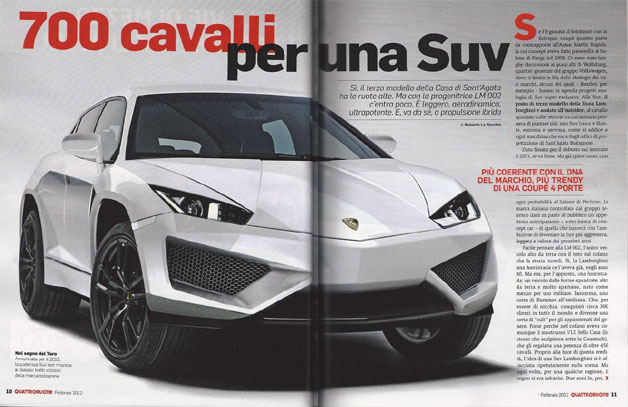 Lamborghini SUV rendering from magazine