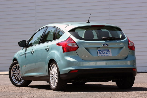 2012 Ford Focus Electric rear 3/4 view