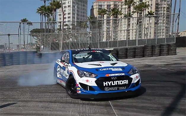 Rhys Millen's Hyundai Genesis Coupe getting sideways in Long Beach