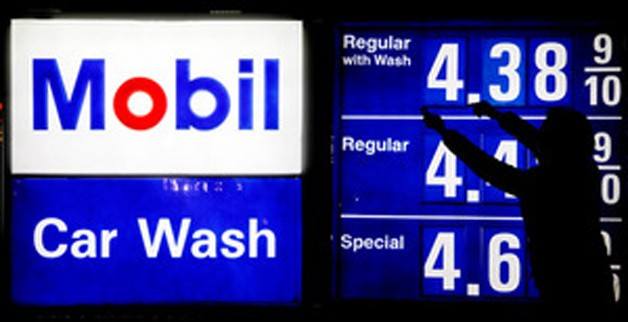 Mobil gas prices signage