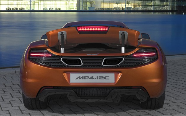 McLaren MP4-12C - dead-on rear view with airbrake deployed