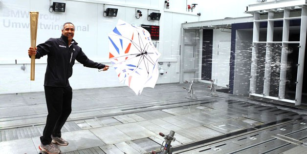 Testing the Olympic Torch in BMW wind tunnel