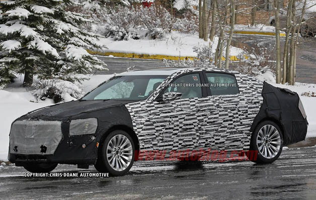 2014 Cadillac CTS spy shots - front three-quarter view