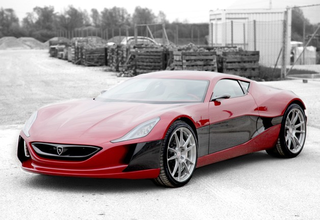 Rimac Concept One - red - front three-quarter static view