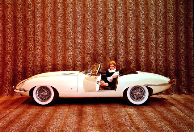 1961 Jaguar XKE - in-period photo with model