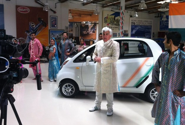 Jay Leno filming with Tata Nano