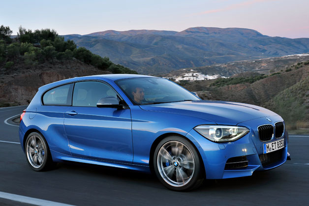 BMW M135i in blue - dynamic front three-quarter view