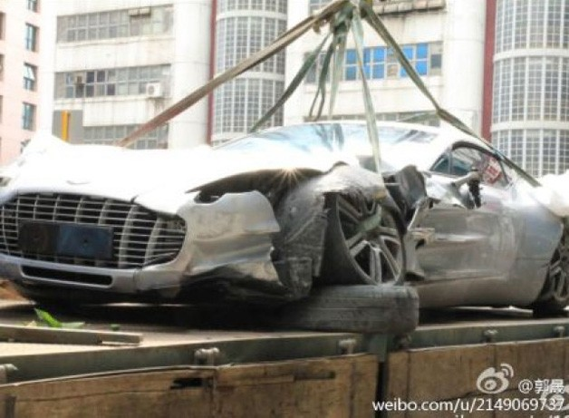 Crashed Aston Martin One-77